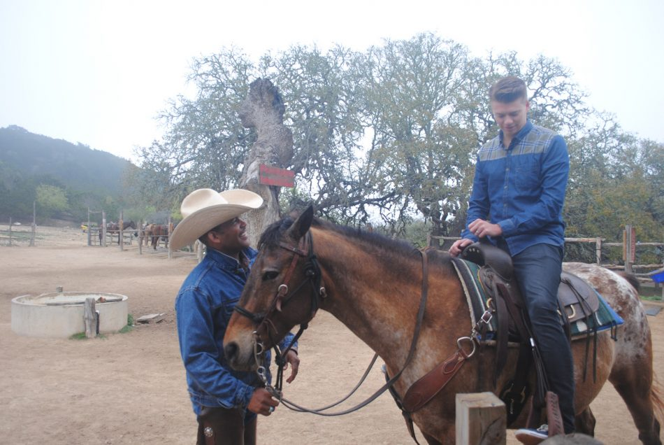 Getting ride for a horse ride in bandera, TX