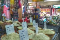 different types of rice for sale at Somphet Market - Chiang Mai, Thailand