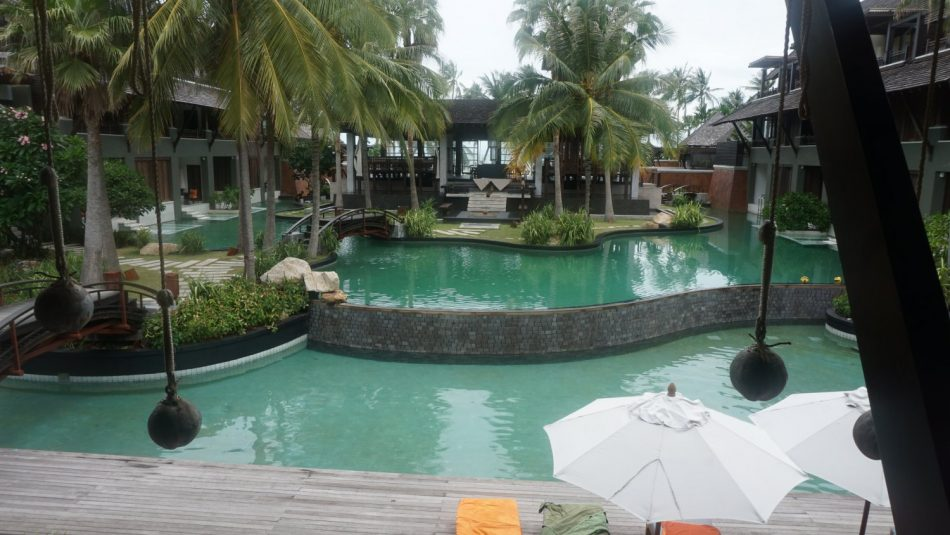 The swimming pools in the resort.