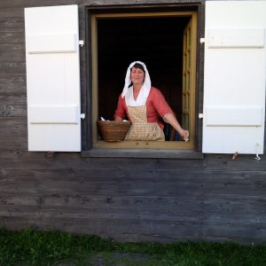 Cape Breton - Louisbourg Fortress - inside the fortress-city - servant selling baked goods 1