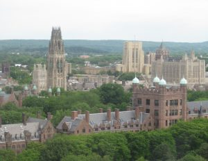 view of Yale from John Davenport's with Harkness Tower on the left