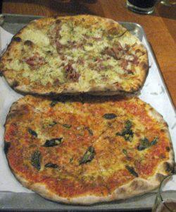 mashed potato & bacon/ red pie w mozzerella and fresh basil