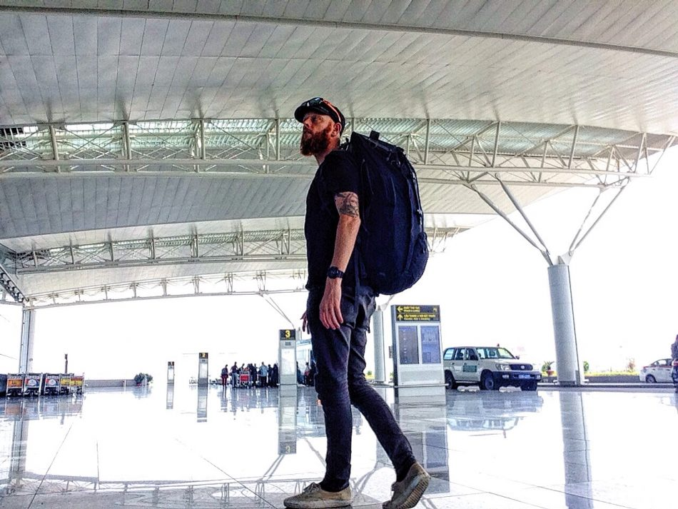 Backpacker at the airport