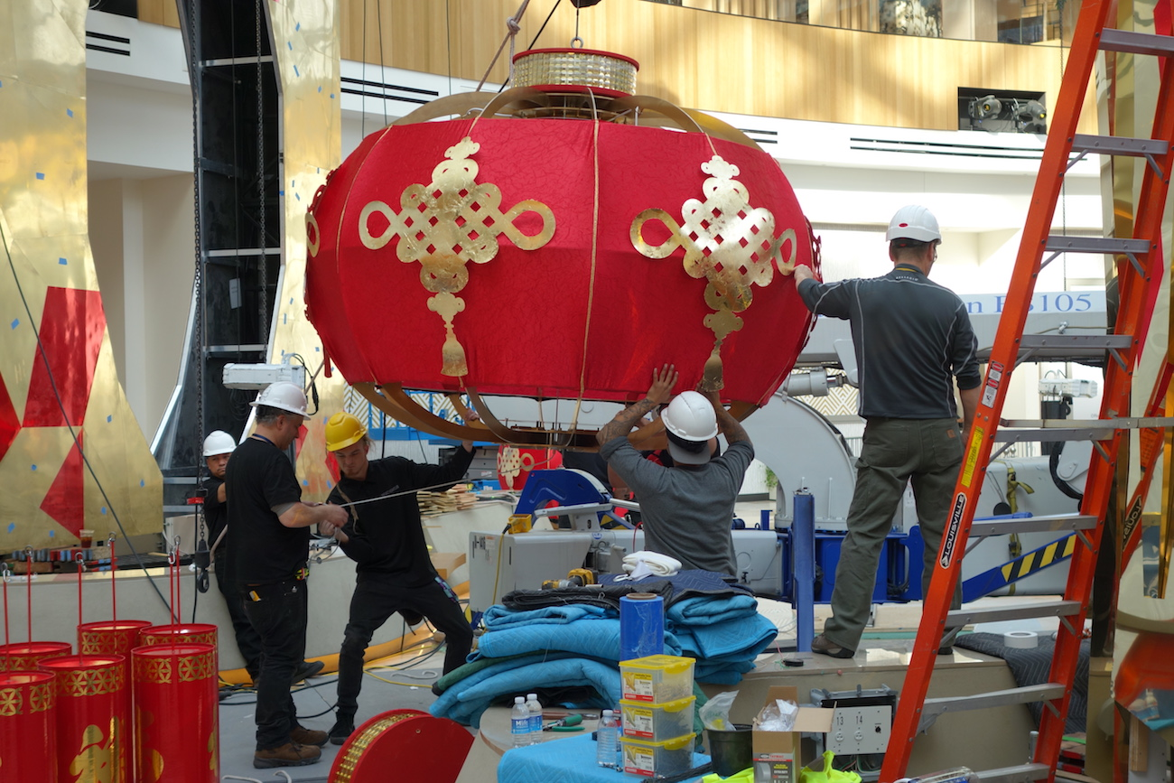 A Chinese lantern being positioned for Lunar New Year glory