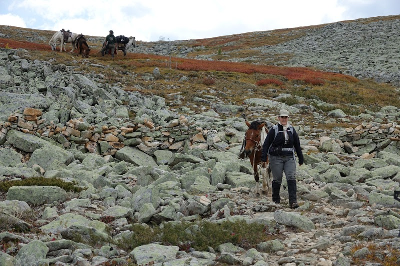 Patricia leading her horse over the steep and rocky slope