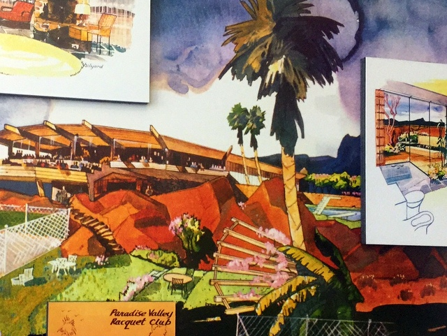 Drawings from the 1955 membership brochure for the Paradise Valley Racquet Club
