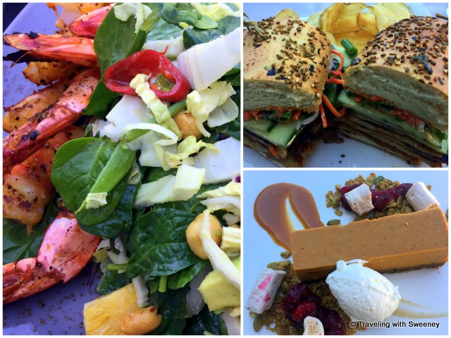 Lunch entrees: Citrus shrimp salad, Pork Banh Mi sandwich, Pumpkin cheesecake