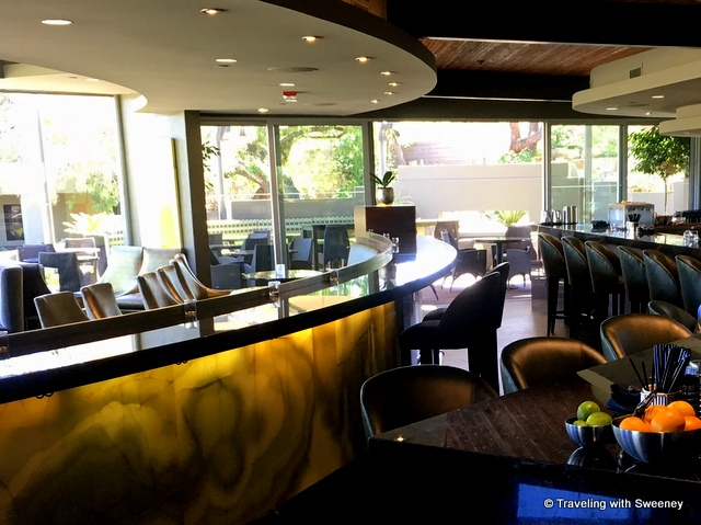 Jade onyx decor in jade bar at the Sanctuary Camelback Resort and Spa