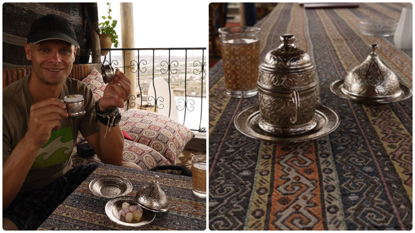 """""""black as hell, strong as death, and as sweet as love"""" I loved the fancy little cups and sweets served with Turkish coffee!"""