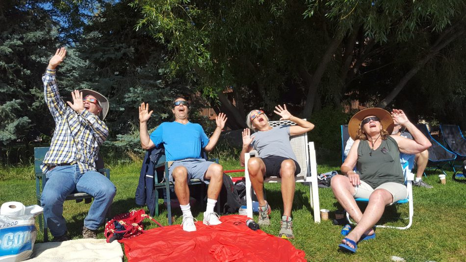 2017 Solar Eclipse Viewers Having Fun During The Event