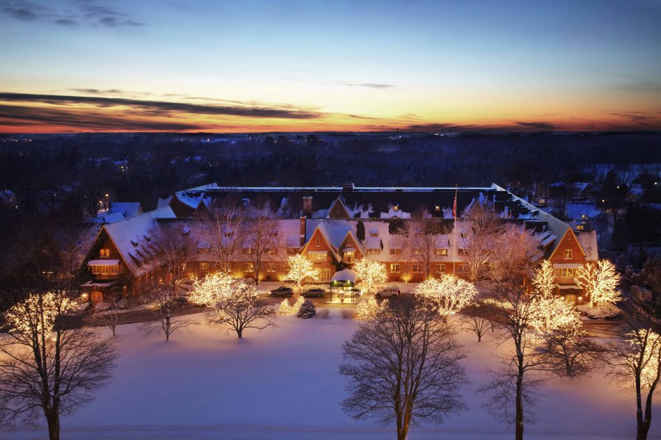 An Aerial Shot of The American Club at Kohler in the Winter-keep fit in the winter